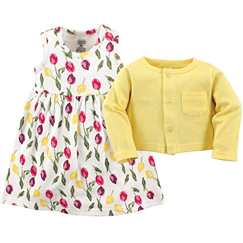 Luvable Friends Baby and Toddler Girl Dress and Cardigan, Tulips, 4 Toddler