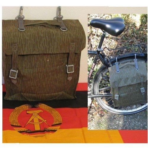 Unbekannt NVA Tasche gummiert Satteltasche Simson Schwalbe Fahrrad Tragegestell Angeln
