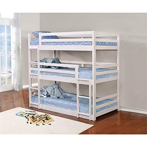 Coaster Home Furnishings Bunk Bed, Triple Twin, White