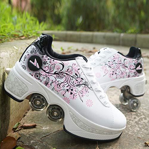 WLOWS Rollschuhe Für Kinder, Jugendliche Und Erwachsene, Größenverstellbare Quad-Skates,Disco Roller, Classic Roller,White-EU38