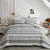 Joyreap 7 Piece Bed in a Bag Full/Queen, Triangle Wave Stripes on White Bohemian Design, Smooth Soft Microfiber Comforter Set (1 Comforter, 2 Pillow Shams, 1 Flat Sheet, 1 Fitted Sheet, 2 Pillowcases)