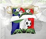RIXI Juego De Funda Nórdica Bandera De Fútbol Juegos De Cama Francia,1 Fundas Nórdicas con 2 Fundas De Almohada (3PCS) O Sábana (4PCS) (03,220×230cm_Cama 150-160_4pcs)