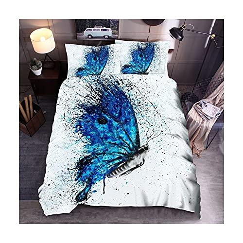 RKMJXJ EIN farbenfrohes 3D-Schmetterling-Tier-Bettwäsche-Bett, EIN Tier, das von der Kaiser Mengdie inspiriert ist, verziert mit 3 Bettwäsche, darunter 2 Kissenbezüge und 1 Quiltcover