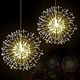 SoloKing 198 LED a batería Luces de fuegos artificiales de hadas con 8 modos de luces regulables,control remoto,para Navidad, boda, bar, decoración de jardín de patio de fiesta(2 piezas) blanco cálido