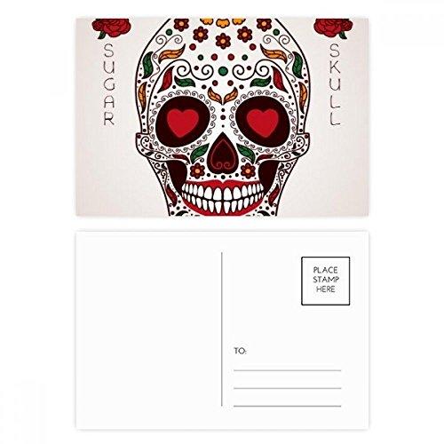 DIYthinker Blume Cirrus Eyes Weiß Sugar Skull Postkartenset Geburtstag dankt Karte Mailing Side 20pcs 5.7 Zoll x 3.8 Zoll Mehrfarbig