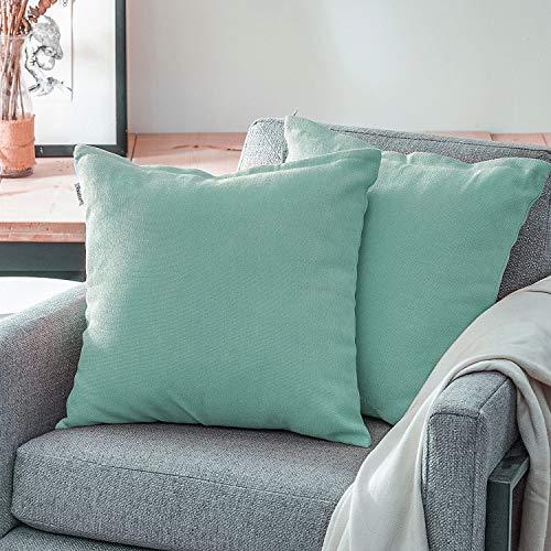 Topfinel Kissenbezüge Einfarbig Chenille Dekokissenhülle mit Verstecktem Reißverschluss für Sofa Auto Bett 2er Set 50x50 cm Lichtgrün