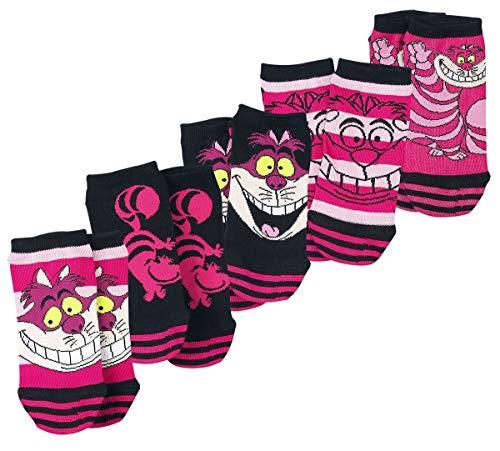 Alice im W&erland Grinsekatze Frauen Socken pink/schwarz EU 35-38