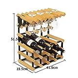 ボトルワインラック、12ボトルと8杯のワインシェルフを完全に組み立てたスタック可能なモジュラー木製ボトルラック(色:B)