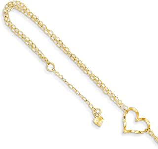 14k Yellow Gold Double Strand Heart 9 10 Adjustable Chain Plus Size Extender Anklet Ankle Beach Bracelet Fine Jewelry For Women Gifts For Her