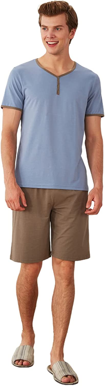 ASHER FASHION Mens Pajama Set Sleepwear Short Sleeve Sleep Set Y-Neck Buttons Cotton PJ Set