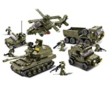 Sluban M38-B0208 Blocks Army Bricks Toy Hind Helicopter, T-90 Main Battle Tank, Army Personnel Carriers, Army Je-ep, Prowl Car,1 Set, 25.2'x3.5'x18.7', Green