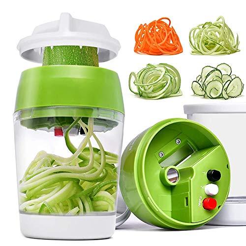 i-Found 5 en 1 Calabacín espaguetis Maker Veggie Spiralizer manual ajustable Espiralizador de calabacín Fabricante de fideos Calabacín Espiralizador con contenedor