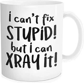 Waldeal 1 Piece, I Can't Fix Stupid But I Can X Ray It Funny Coffee Mug Birthday Halloween Christmas Gift for Men Women Radiology Technician, 11-oz Fine Bone Ceramic White