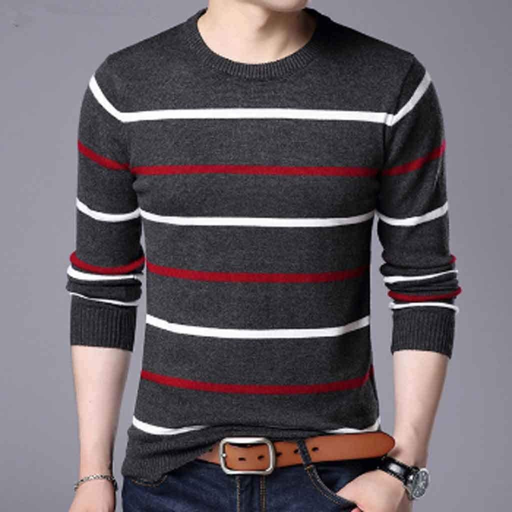 ZYING Pullover Men Autumn Winter Wool Slim Fit Sweater Men Casual Striped Pull Jumper Men (Color : B, Size : XXL Code)