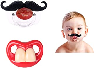 2Pcs Funny Teeth And Mustache Pacifier,Cute Gentleman Mustache Designed Baby Pacifiers for Soothe Your Newborn Baby, Perfect Baby Shower Gift For Small Boys Or Girls(2 Pack)