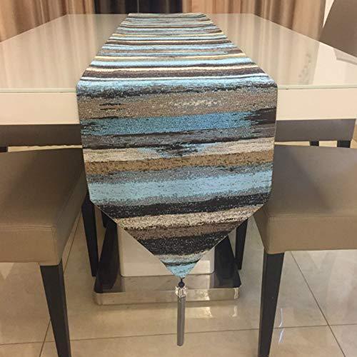 Telihome Tischläufer Farbverlauf Farbe Tischdecke Stickkunst Quaste Bettfahne blau 32x210cm