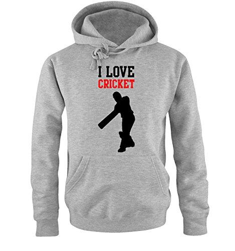 Comedy Shirts I Love Cricket - Herren Hoodie - Grau/Schwarz-Rot Gr. S