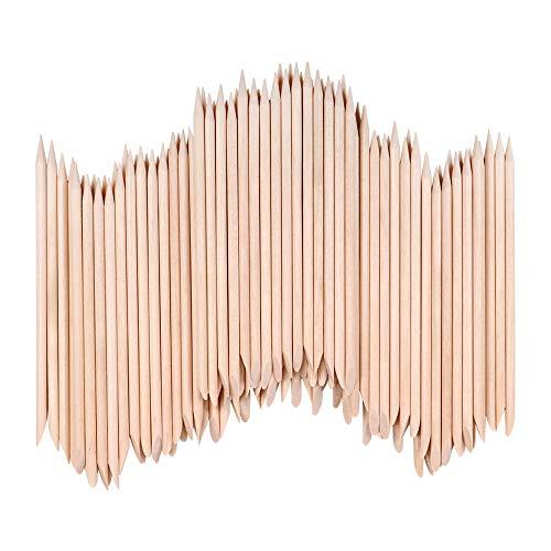VINFUTUR 100pcs Palos Uñas Palillos Cutículas Naranja para Manicura Nail Art Levantadores Madera Naranja de Cutícula