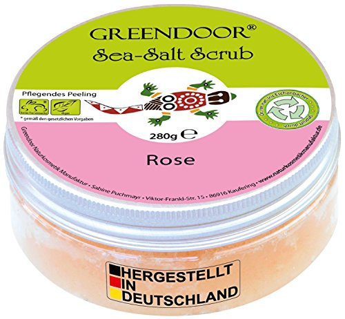 Greendoor Körperpeeling Meersalz Rose, natürliches Peeling ohne Mikroplastik für Damen, 280g Duschpeeling ohne Konservierungsmittel, mit straffendem Mandelöl, Body Scrub, Naturkosmetik Sauna-Salz