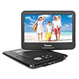 NAVISKAUTO 14 inch HD Portable DVD/CD Player USB/SD Reader with HD 1366x768 Digital TFT 270° Swivel Screen, 5-Hour Built-in Rechargeable Battery, Remote Control and Carrying Case-Black