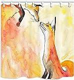 Tier-Duschvorhänge Zwei orangefarbene Füchse auf einem orangefarbenen Aquarell-Duschvorhang für Badezimmer-wasserdichtes Stoff-Badezimmerzubehör