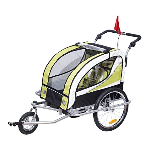 HOMCOM Remolque para Bicicleta tipo Carro con Barra de Paseo para Niños de 2 Plazas con Rueda Delantera Giratoria 360° y Asiento Acolchado Carga Máx. 40kg (Verde)