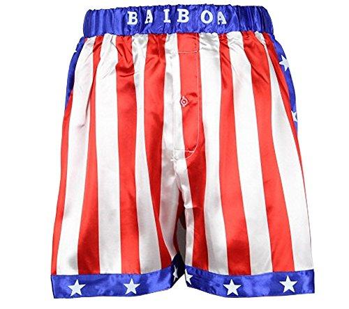 Rocky Balboa Herren Boxershorts mit amerikanischer Flagge, Apollo-Film - - Mittel