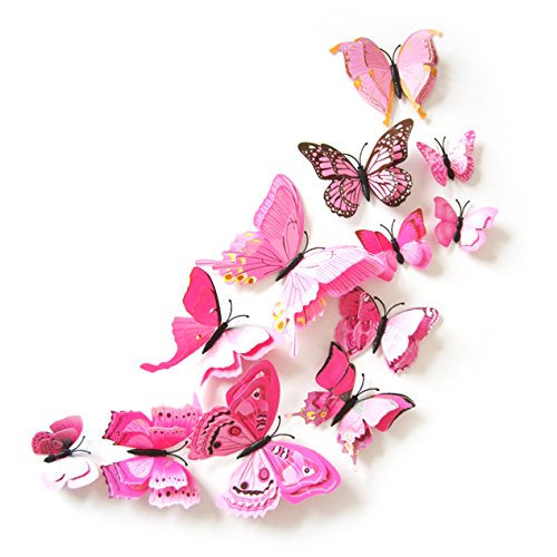 Oblique-Unique 3D Schmetterlinge Doppelflügel Effekt Blumen 12er Set Dekoration Wandtattoo (Rosa)
