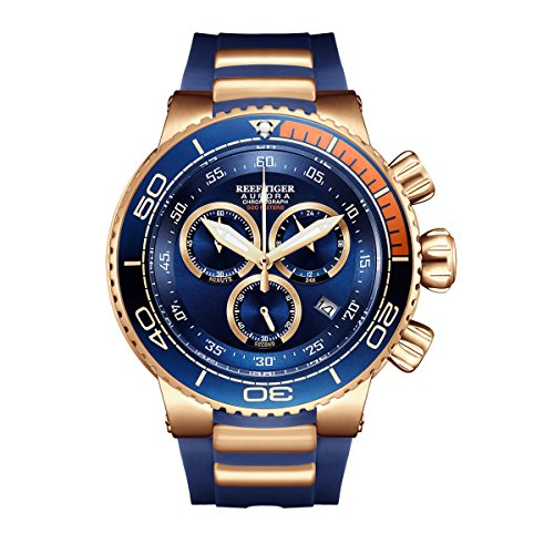 REEF TIGER Herren Uhr analog Quartz mit Kautschuk Armband RGA3168-PLL