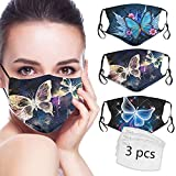 Butterfly Face_Mask for Women 3PCS Washable Face_Mask with Filter Pocket Butterfly Face Decorative Adjustable Reusable Cotton Cute Designer Face Cover with 3 Packs Filters Butterfly Gift for Women