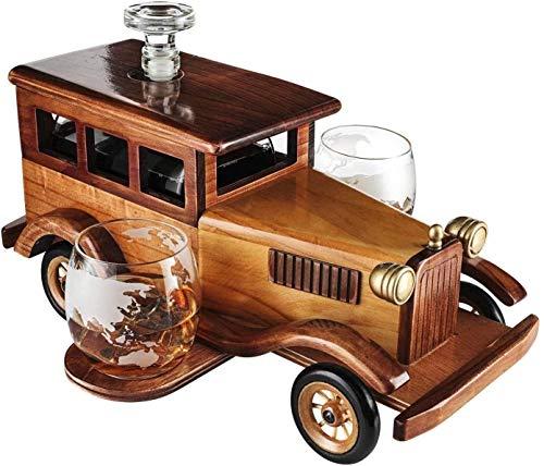 Copas de vino Conjunto de decantador de whisky de coche antiguo, con gafas de moda de la moda vieja del vaso de whisky de 2-10oz, coche antiguo de la vendimia, 750 ml de la espiga de la decantación