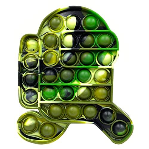 Pop Pop Bubble Fidget Toy,Anti Stress Robot für Kinder Erwachsene,Fidget Toy Among Us,Stress Relief Silicone Geeignet für Geburtstagsfeiergeschenke,Schulklassenbelohnungen,Karnevalspreise(Grün)