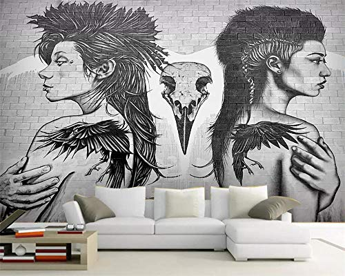 tatuaje personaje doodle papel tapiz TV fondo decoración del hogar sala de estar dormitorio 3d papel tapiz 350×245cm
