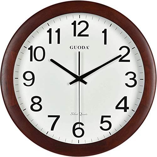 horloge murale en Bois Massif américain rétro muet Salon Chambre Tableaux muraux Simples et élégants