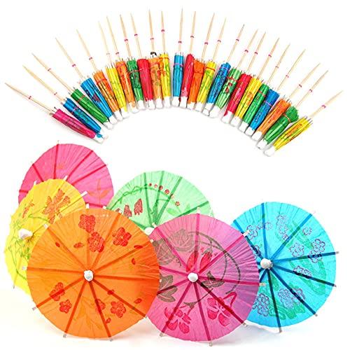 LDGGS 24 paraguas de papel multicolor para cócteles, sombrillas para fiestas, accesorios para bodas, fiestas de cumpleaños, suministros para cócteles, decoración para fiestas