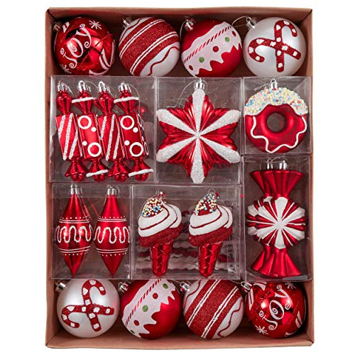 Valery Madelyn 60ct Sweet Candy Shatterproof Christmas Ball Ornaments Decoration, Red and White Christmas Tree Ornaments Assorted Bulk, 1.18inch-4.72inch, Themed with Tree Skirt (Not Included)