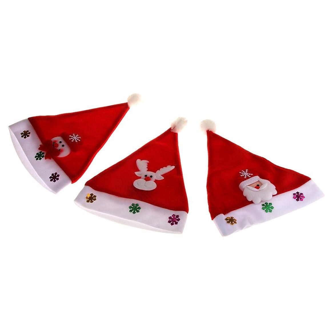 比べる陽気なバックグラウンド【ノーブランド品】3枚 成人 男女兼用 クリスマス  ノベルティ 帽子 キャップ サンタ パーティー