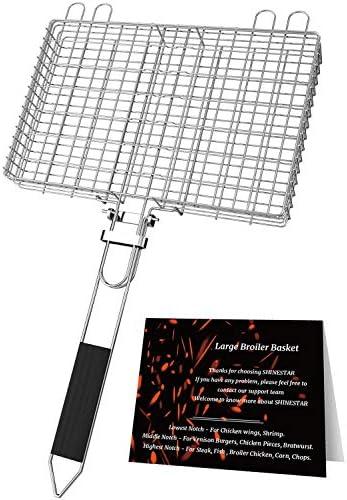 SHINESTAR Adjustable Grill Basket for Varies Food 3 Notch Grilling Basket with Removable Handle product image