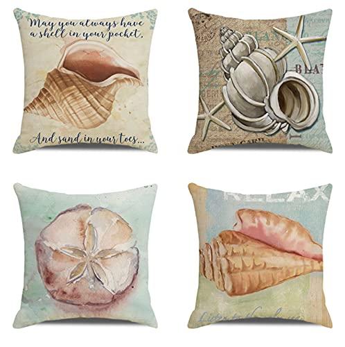 JOVEGSRVA Juego de 4 fundas de almohada decorativas con diseño de estrella de mar, 45 cm x 45 cm, para sala de estar, sofá, cama, fundas de almohada