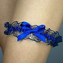 Giarrettiera di pizzo matrimonio sposa biancheria intima regali de nozze addio al nubilato ancora blu argento