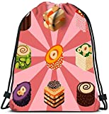 N / A Kordelzug Taschen Rucksack East Delicious Dessert Süßigkeiten Lebensmittel Süßwaren...
