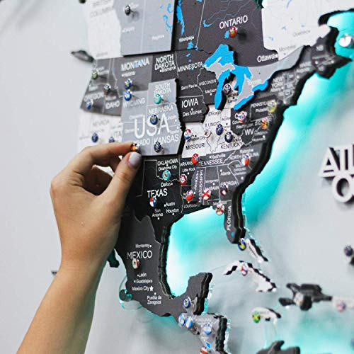 LED 3D Wood World Map Wall Art Large Wall Décor - World Travel Map ALL Sizes (M L XL) 3D Nordic Any...