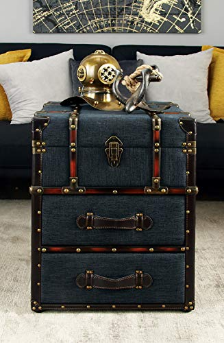 """Deco 79 Traditional Fabric-Covered Wooden Trunk-Style End Table, 22""""H x 18""""L, Textured Black Finish New Hampshire"""