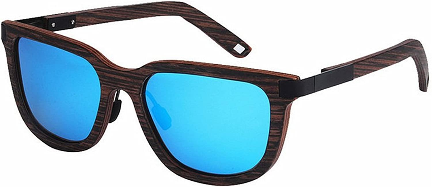 Men's Sunglasses Wood Polarized Handmade Cat Eyes colorful TAC Lens UV Predection Driving Fishing Beach Outdoor Sunglasses (color   blueee)