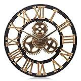 Lafocuse 58cm Grande Orologio da Parete Legno Oro Ingranaggi a Vista Industriale Steampunk con Numeri Romani per Bar Soggiorno Ristorante