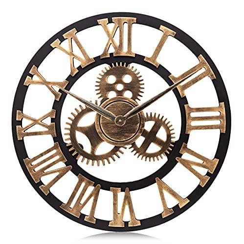 Lafocuse 58cm Grande Orologio da Parete Legno Oro Ingranaggi a Vista Industriale Steampunk con...