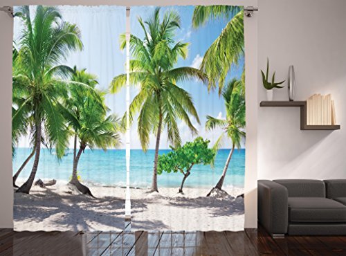 """Ambesonne Beach Curtains, Palm Leaves in Catalina Island Dominic Seashore Coastal Panoramic Picture, Living Room Bedroom Window Drapes 2 Panel Set, 108"""" X 84"""", Coconut Green"""
