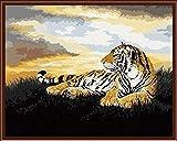 Pintura Por Númerosadultos Bricolaje Acrilico Kits Pintura Al Óleo Cumpleaños Creativo Regalos Por Niños Principiantes Tigre 40X50Cm Con Marco