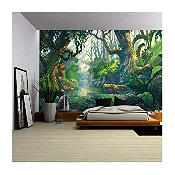 wall26 - Illustration - Fantasy Forest Background Illustration Painting - Removable Wall Mural | Self-Adhesive Large Wallpaper - 66x96 inches