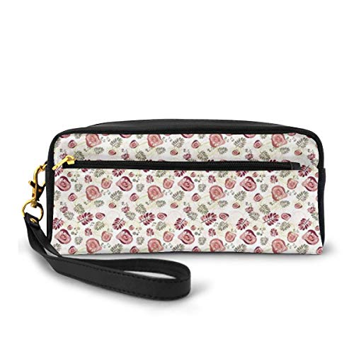 Pencil Case Pen Bag Pouch Stationary,Modern Floral Design with Leaves Abstract Flowers and Dots Illustration,Small Makeup Bag Coin Purse